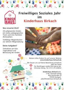 FSJ im Kinderhaus Birkach - Stellenausschreibung