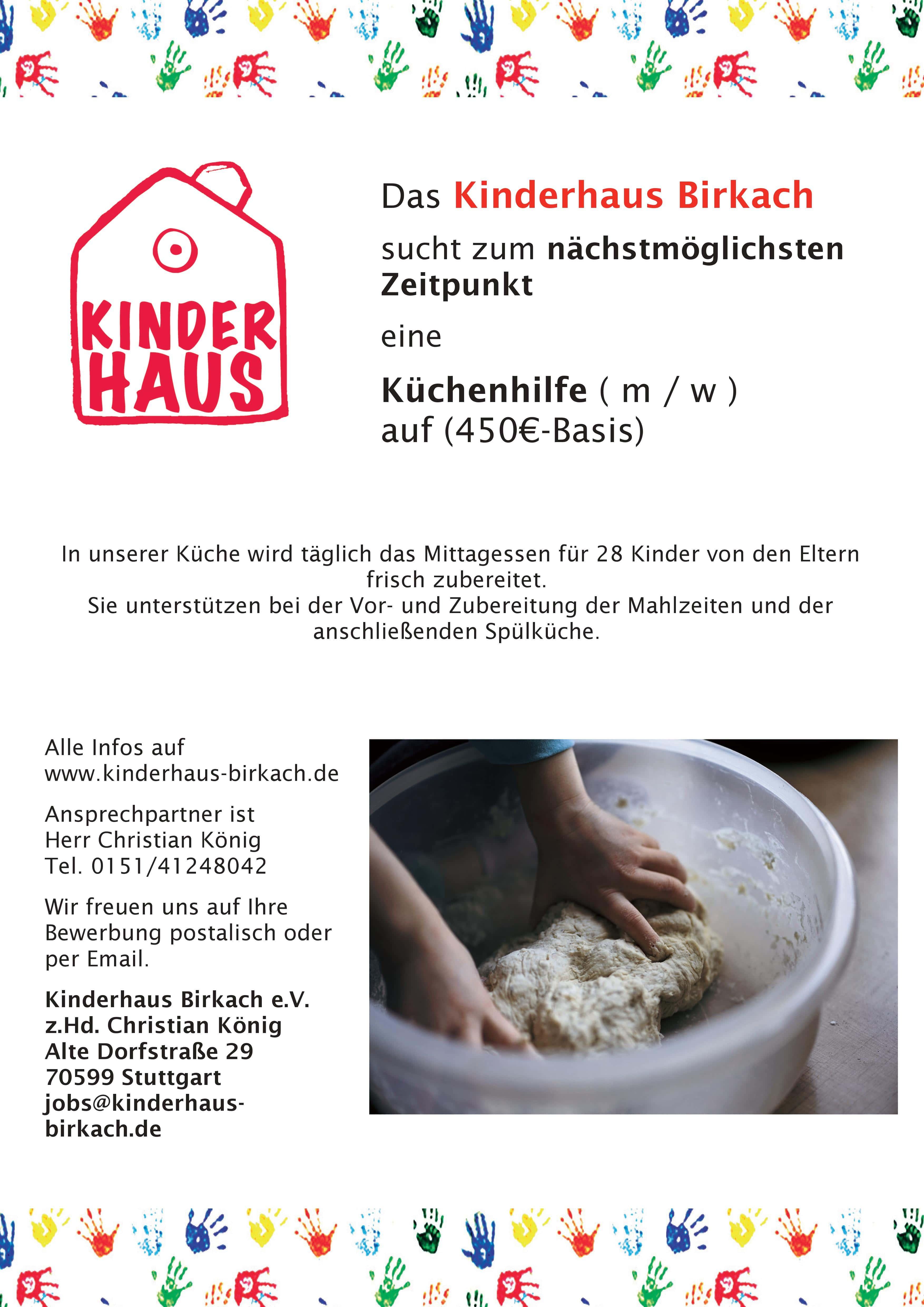 Stellenausschreibung Küchenhilfe Kinderhaus Birkach-min